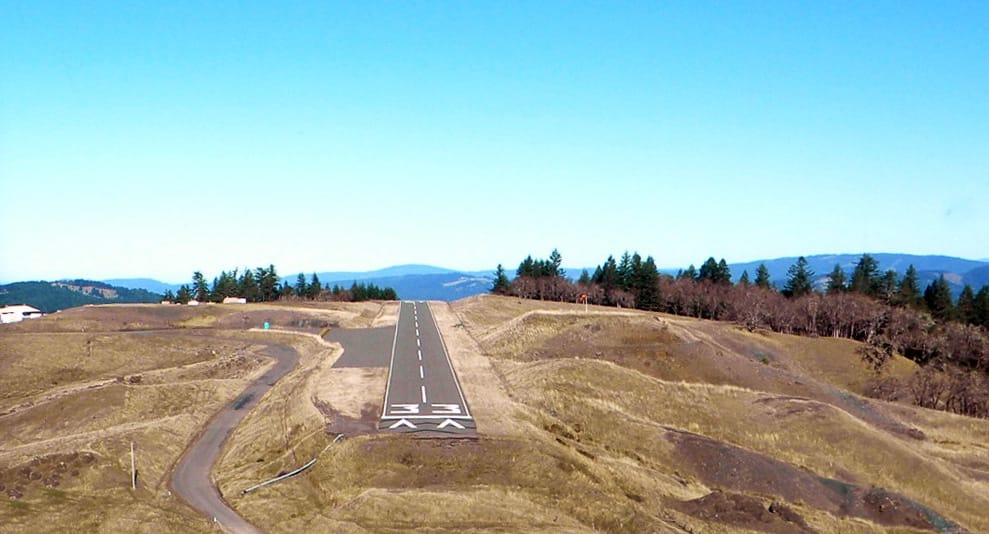 pov from airplane on landing approach to Kneeland Airport airports near avenue of the giants Kneeland Airport | Humboldt County airport kneeland runway