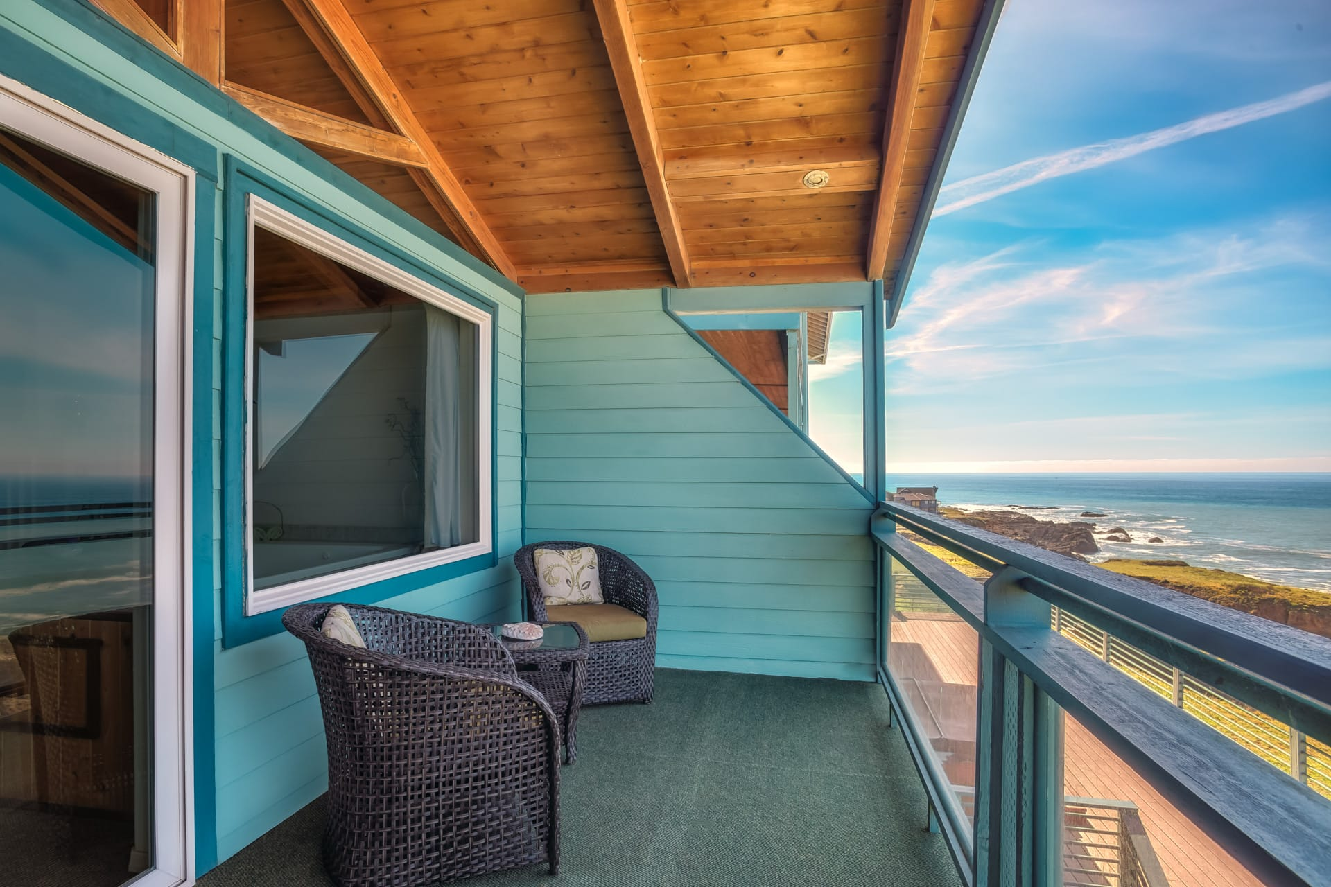 Panoramic View Of Northern California Lost Coast From Deluxe Spa Suite Oceanfront Hotel Room Furnished Private