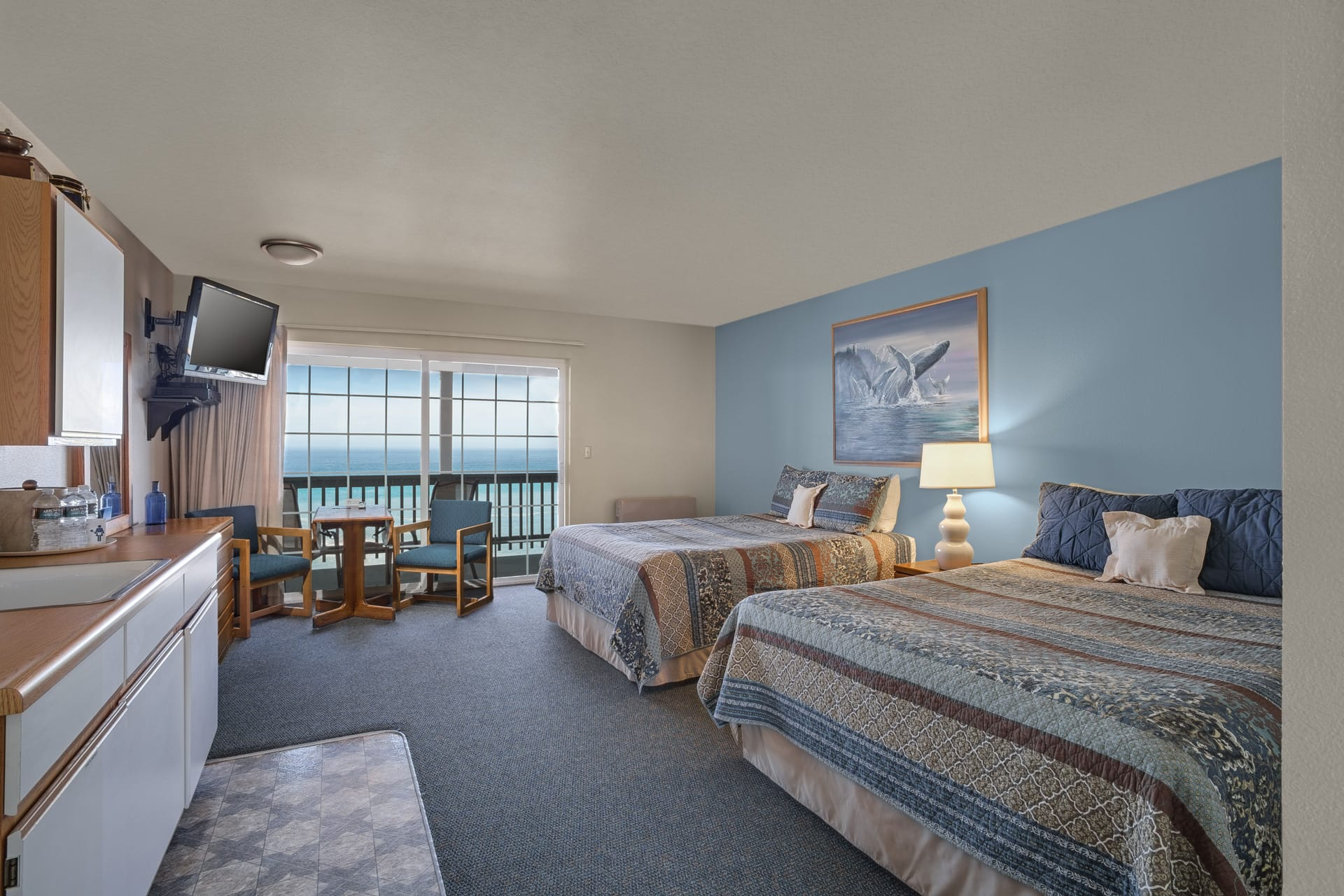 Standard Double Queen Guestroom at Shelter Cove's icon oceanfront resort hotel Inn of the Lost Coast.