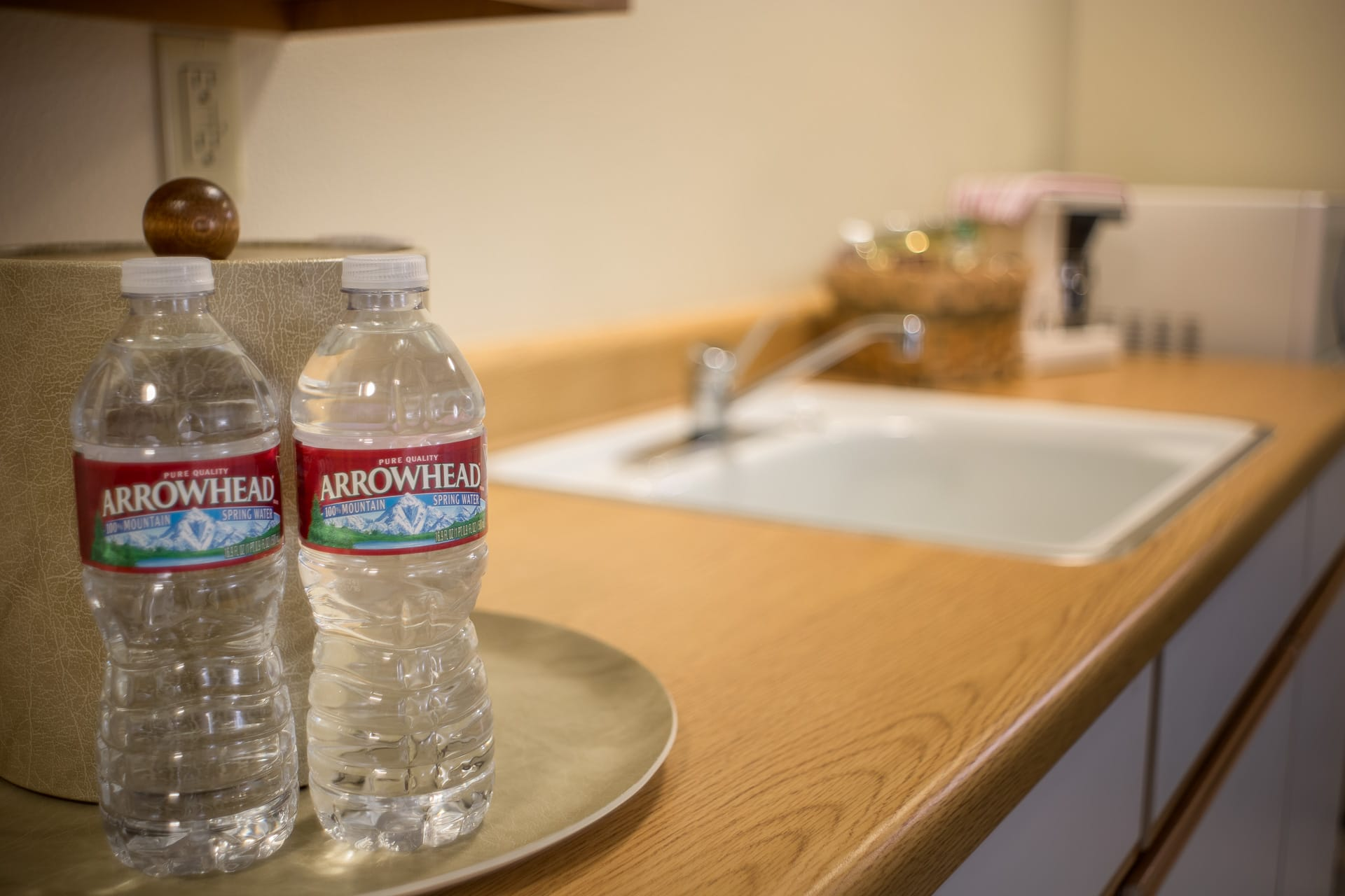 Kitchenette with bottled water in the Standard Guestroom hotel room at the oceanfront Inn of the Lost Coast Shelter Cove.