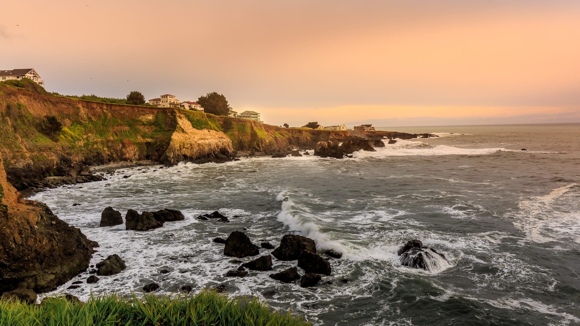 Inn of the Lost Coast oceanfront hotel perched atop Shelter Cove's rugged coastal bluffs of Northern California