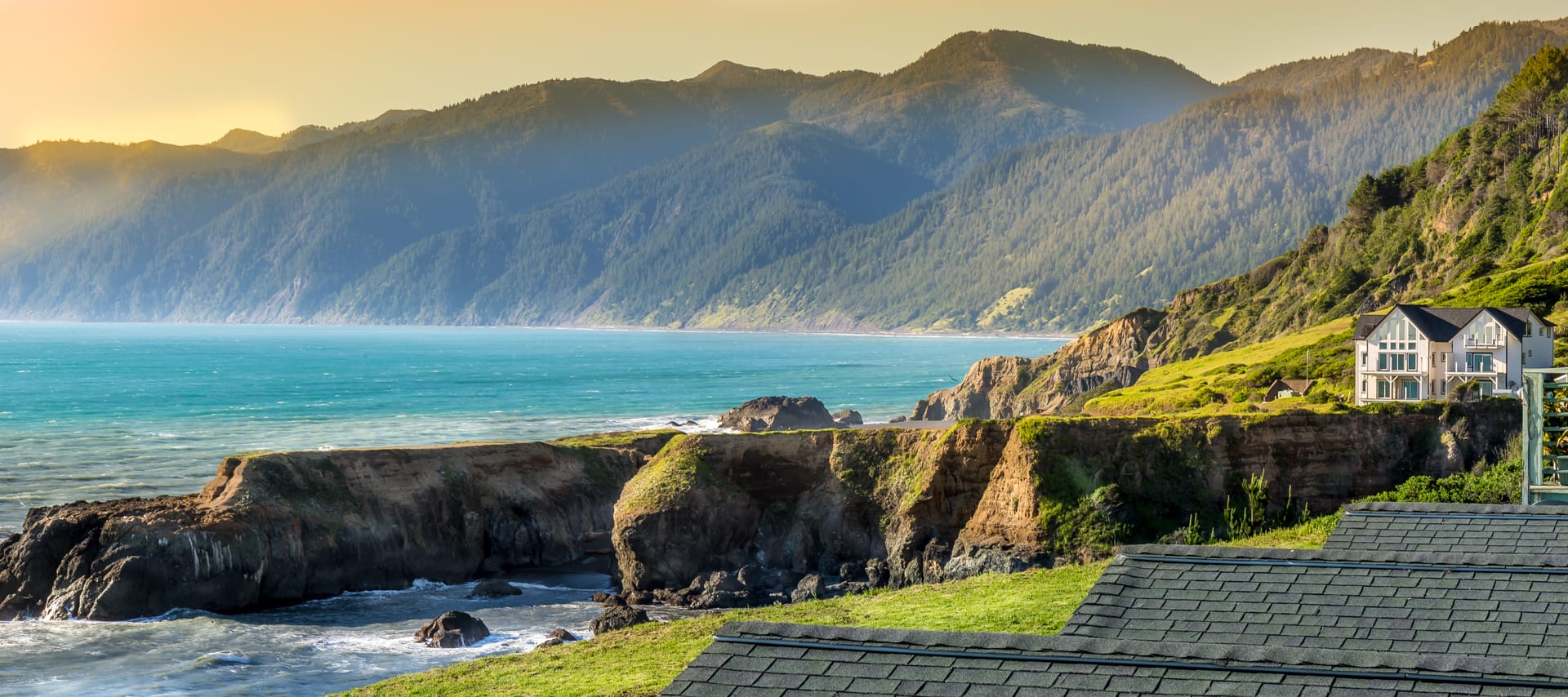 Shelter Cove California Coastline from Deluxe Corner Suite hotel room at the oceanfront Inn of the Lost Coast Shelter Cove, near the Lost Coast Trail.